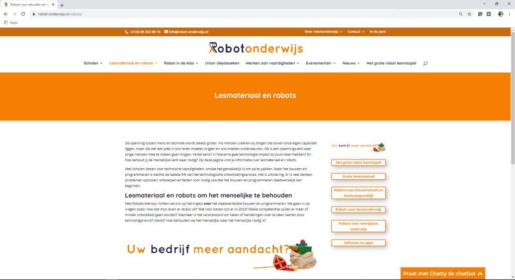 Adverteren op RobbotOnderwijs website voorbeeld